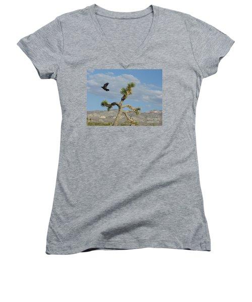 Women's V-Neck T-Shirt (Junior Cut) featuring the photograph The Flight Of Raven. Lucerne Valley. by Ausra Huntington nee Paulauskaite