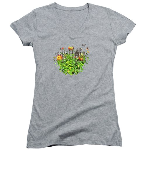 The Flowers Along The Fence  Women's V-Neck T-Shirt (Junior Cut) by Thom Zehrfeld