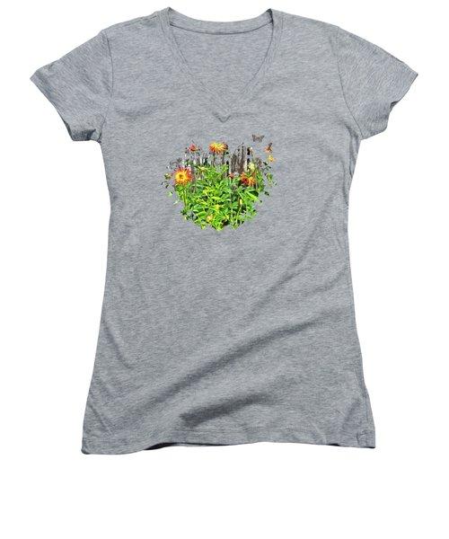 The Flowers Along The Fence  Women's V-Neck T-Shirt (Junior Cut) by Thom Zehrfeld