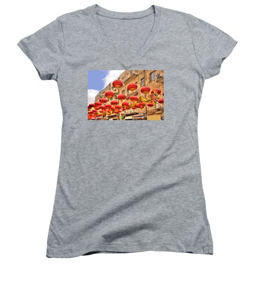 Women's V-Neck T-Shirt (Junior Cut) featuring the photograph The Flying Dragon by Uri Baruch