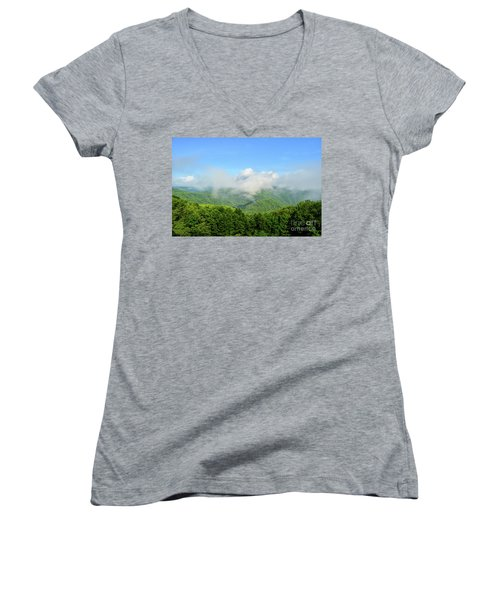 Women's V-Neck T-Shirt featuring the photograph The Fog Rises Over The Bluestone Gorge - Pipestem State Park by Kerri Farley