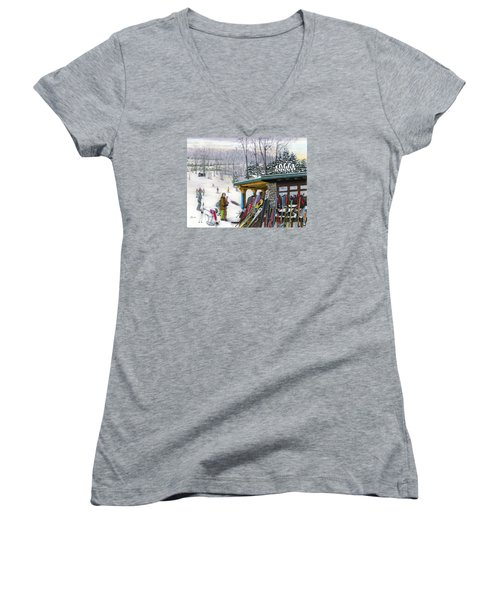 Women's V-Neck T-Shirt (Junior Cut) featuring the painting The Foggy Goggle At Seven Springs by Albert Puskaric