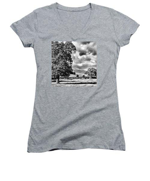 Old John Bradgate Park Women's V-Neck T-Shirt (Junior Cut) by John Edwards