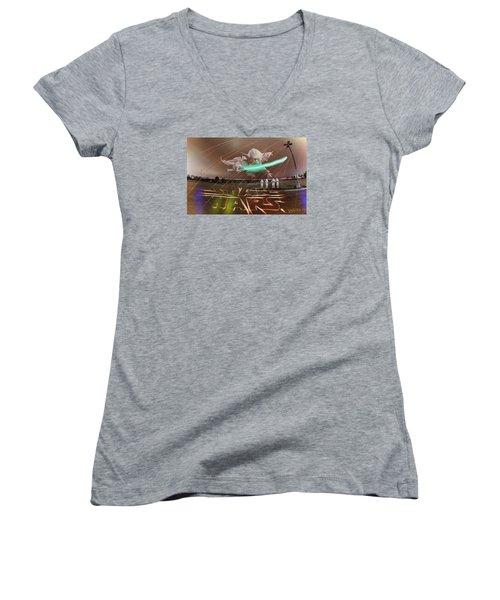 The Force Awakens Women's V-Neck T-Shirt (Junior Cut) by Andrew Nourse
