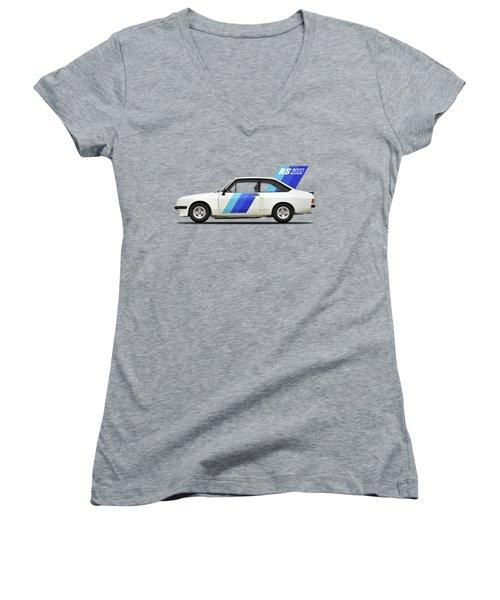 The Ford Escort Rs2000 Women's V-Neck T-Shirt (Junior Cut) by Mark Rogan
