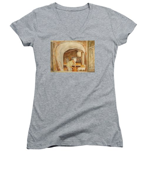 Women's V-Neck T-Shirt (Junior Cut) featuring the painting The French Baker by Vicki  Housel