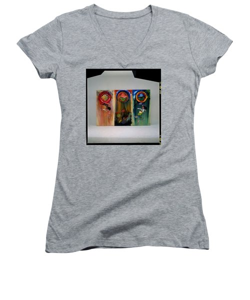 Women's V-Neck T-Shirt (Junior Cut) featuring the painting The Fruit Machine Stops by Charles Stuart