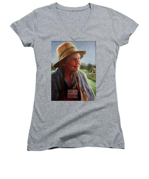 The Gardener Women's V-Neck T-Shirt (Junior Cut) by Janet McGrath