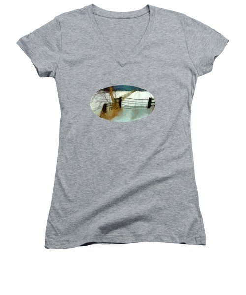 Women's V-Neck featuring the painting The Gateway by Valerie Anne Kelly