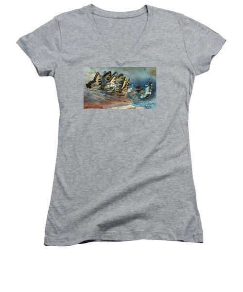 The Gathering Women's V-Neck T-Shirt (Junior Cut) by Kathy Russell