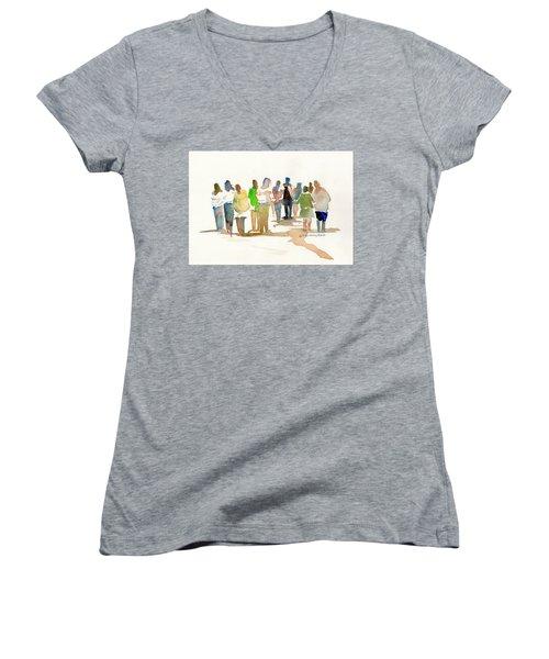 The Gathering Women's V-Neck T-Shirt (Junior Cut) by P Anthony Visco