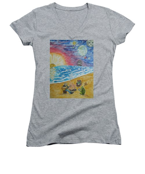 Women's V-Neck T-Shirt (Junior Cut) featuring the painting The Gathering by Thomasina Durkay