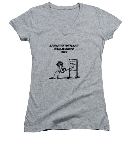 Women's V-Neck T-Shirt (Junior Cut) featuring the drawing The General Theory Of Cheese by Kim Gauge