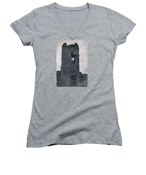 Women's V-Neck T-Shirt (Junior Cut) featuring the photograph The Ghostly Tower by Linsey Williams
