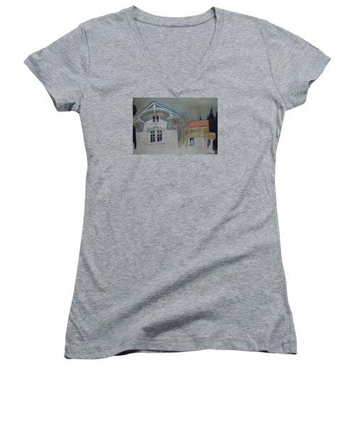 the Ginger Bread House Women's V-Neck T-Shirt (Junior Cut) by Len Stomski