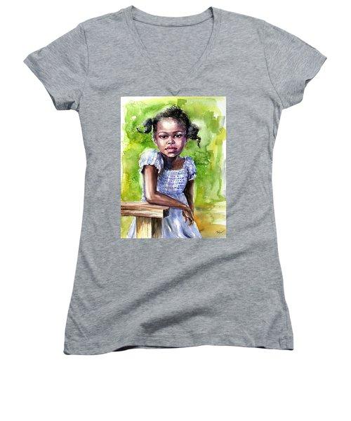The Girl On The Veranda Women's V-Neck T-Shirt
