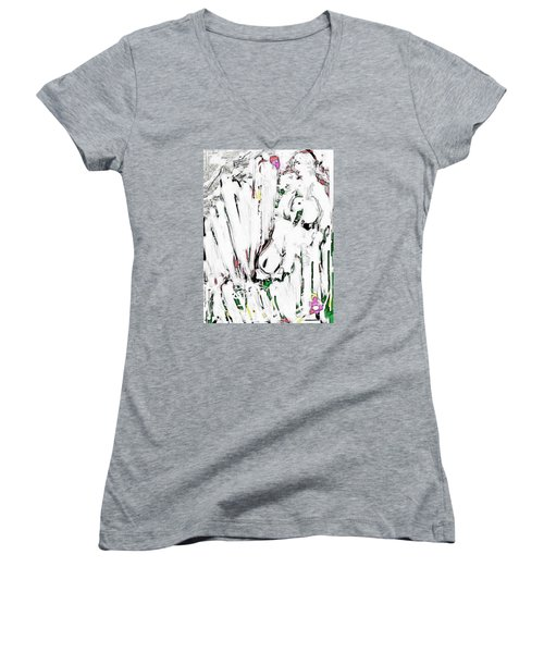 The Girl With Lambs Women's V-Neck (Athletic Fit)