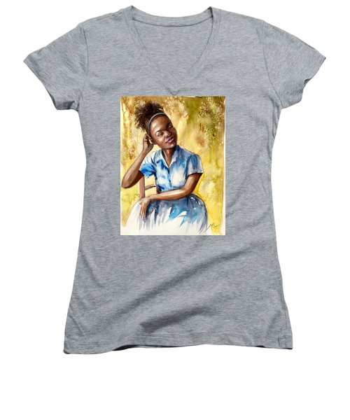 The Girl With The Blue Dress Women's V-Neck
