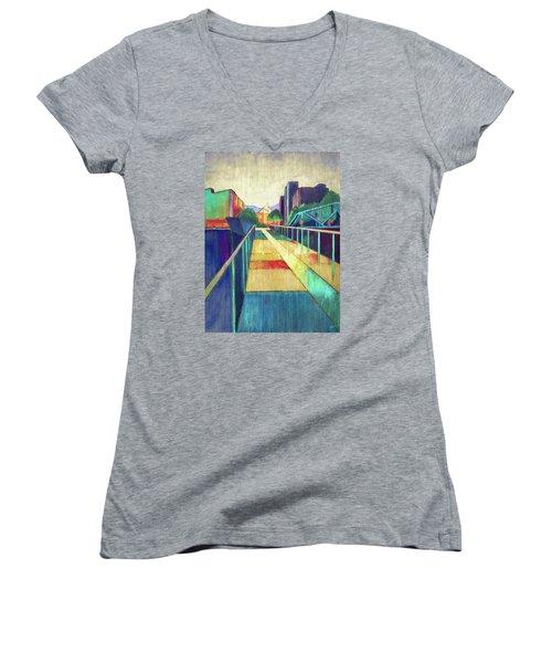 The Glass Bridge Women's V-Neck T-Shirt (Junior Cut) by Steven Llorca