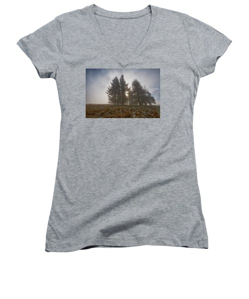 Women's V-Neck T-Shirt featuring the photograph The Gloomy Sunrise by Jeremy Lavender Photography