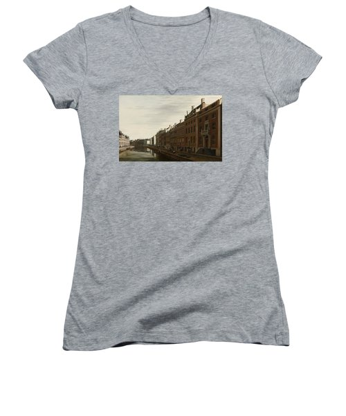 The Golden Bend In The Herengracht, Amsterdam, Seen From The West, 1672 Women's V-Neck