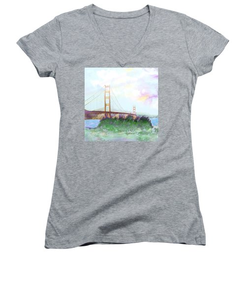 The Golden Gate Women's V-Neck T-Shirt (Junior Cut)