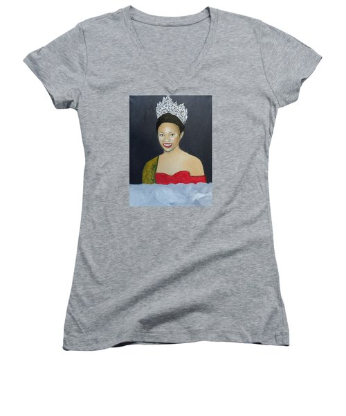 The Golden Queen  Women's V-Neck T-Shirt (Junior Cut) by Angelo Thomas