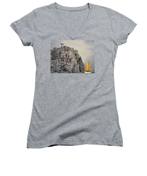 Women's V-Neck T-Shirt (Junior Cut) featuring the painting The Golden Sails by Mojo Mendiola