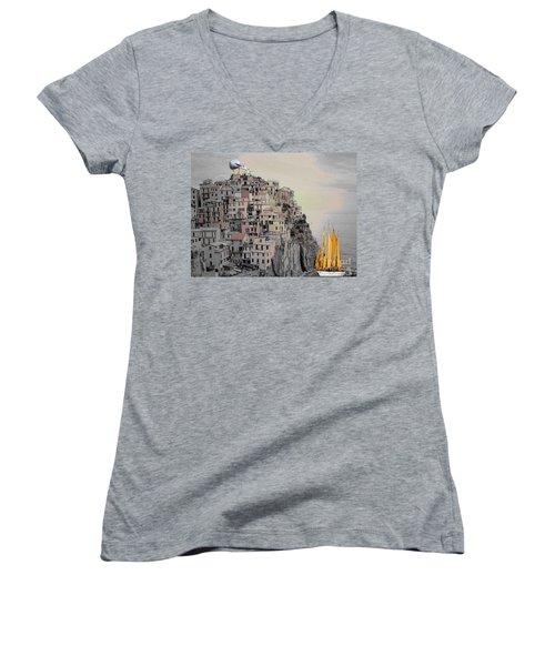 The Golden Sails Women's V-Neck T-Shirt