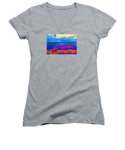The Grand Canyon Alive In Color Women's V-Neck T-Shirt