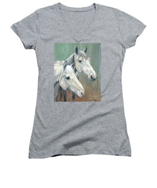 The Grays - Horses Women's V-Neck T-Shirt (Junior Cut)