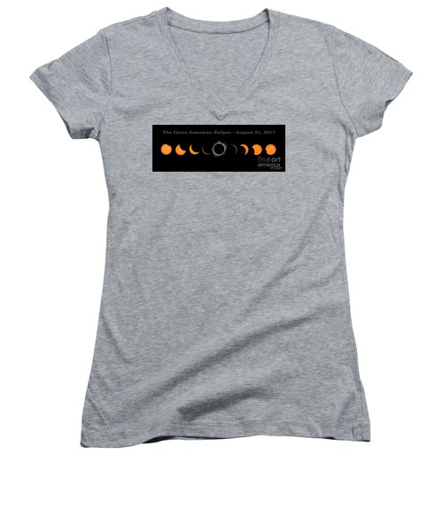 The Great American Eclipse Of 2017 Women's V-Neck (Athletic Fit)
