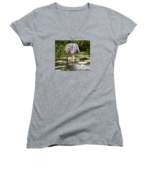 Women's V-Neck T-Shirt (Junior Cut) featuring the photograph The Great Blue Heron by Ricky L Jones