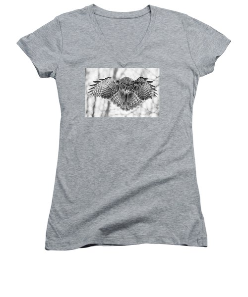 Women's V-Neck T-Shirt (Junior Cut) featuring the photograph The Great Grey Owl In Black And White by Mircea Costina Photography