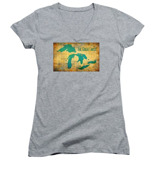 The Great Lakes Women's V-Neck T-Shirt (Junior Cut) by Greg Sharpe