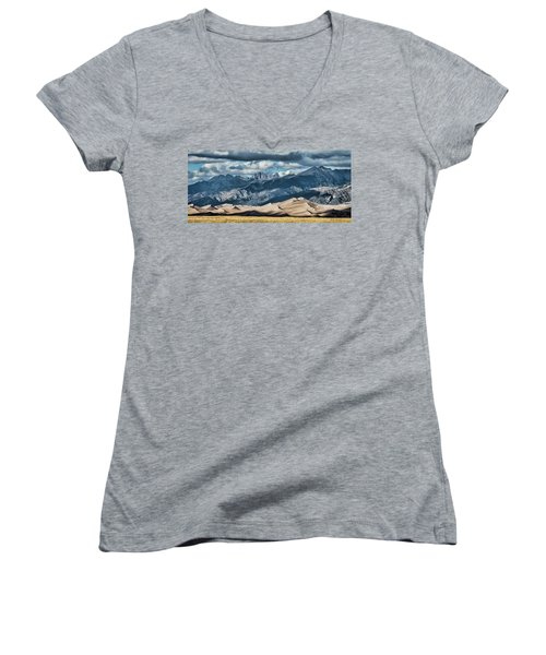 The Great Sand Dunes Panorama Women's V-Neck (Athletic Fit)