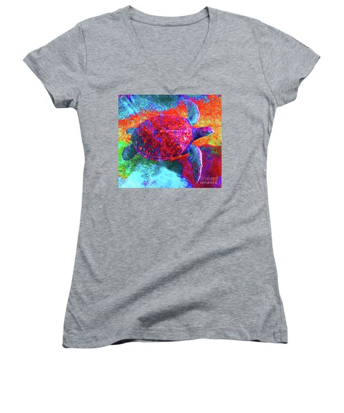 The Great Sea Turtle In Abstract Women's V-Neck