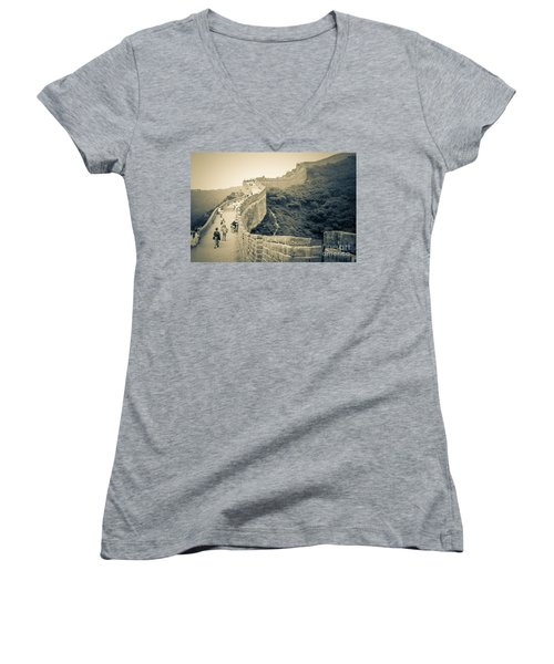 Women's V-Neck T-Shirt (Junior Cut) featuring the photograph The Great Wall Of China by Heiko Koehrer-Wagner