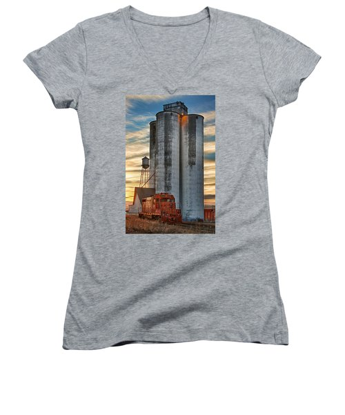 The Great Western Sugar Mill Longmont Colorado Women's V-Neck T-Shirt