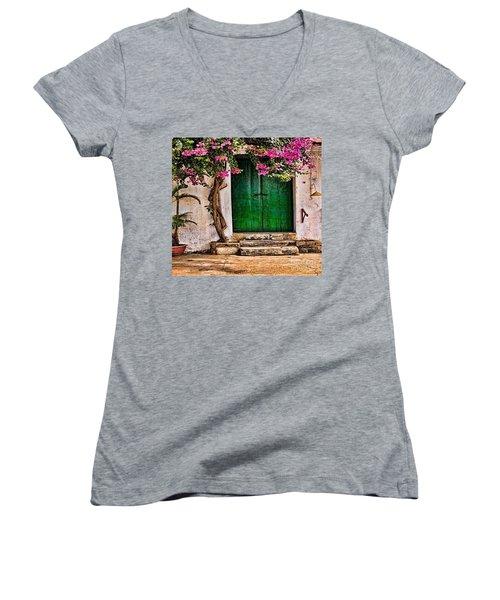 The Green Door Women's V-Neck T-Shirt (Junior Cut) by Rod Jellison