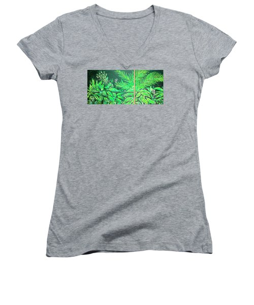 Women's V-Neck T-Shirt featuring the painting The Green Flower Garden by Darren Cannell