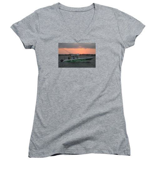Women's V-Neck T-Shirt (Junior Cut) featuring the photograph The Greene Turtle Power Boat by Robert Banach