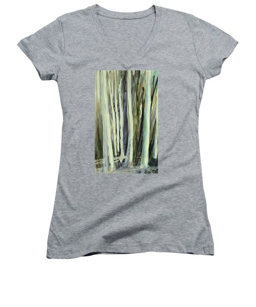 Women's V-Neck featuring the painting The Grove by Andrew King