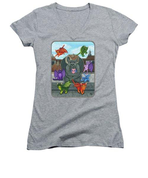 The Guardian Gargoyle Aka The Kitten Sitter Women's V-Neck T-Shirt (Junior Cut) by Carrie Hawks