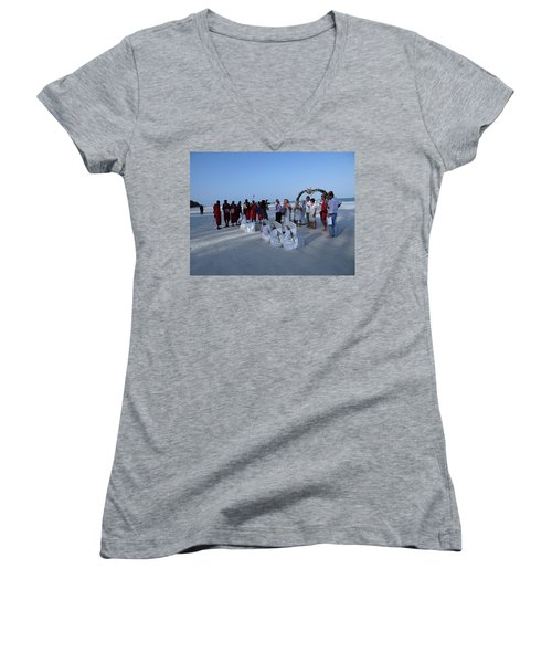 The Happy Couple - Married On The Beach Women's V-Neck (Athletic Fit)