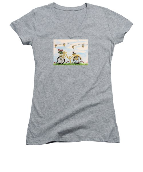 Women's V-Neck T-Shirt (Junior Cut) featuring the painting The Happy Yellow Bicycle by Elizabeth Robinette Tyndall