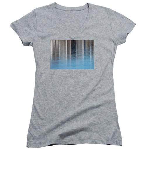 Women's V-Neck T-Shirt (Junior Cut) featuring the photograph The Harbor Reflects by Karol Livote