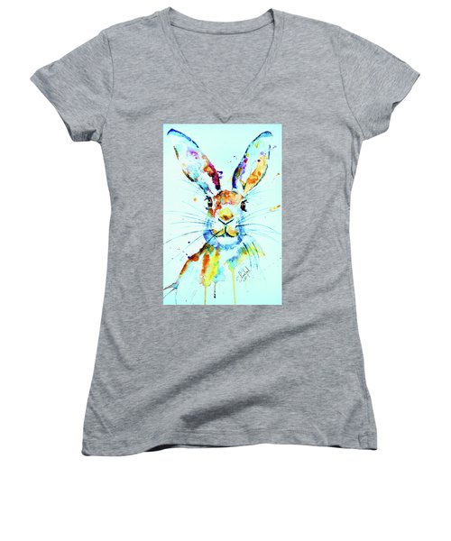 Women's V-Neck T-Shirt (Junior Cut) featuring the painting The Hare by Steven Ponsford