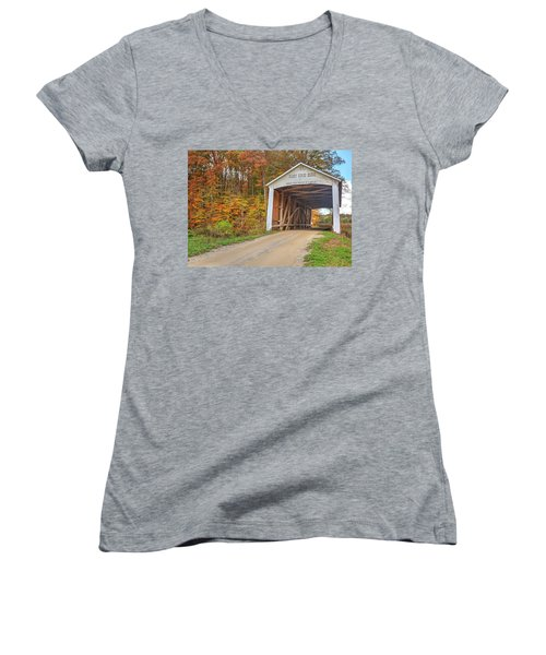 Women's V-Neck T-Shirt (Junior Cut) featuring the photograph The Harry Evans Covered Bridge by Harold Rau