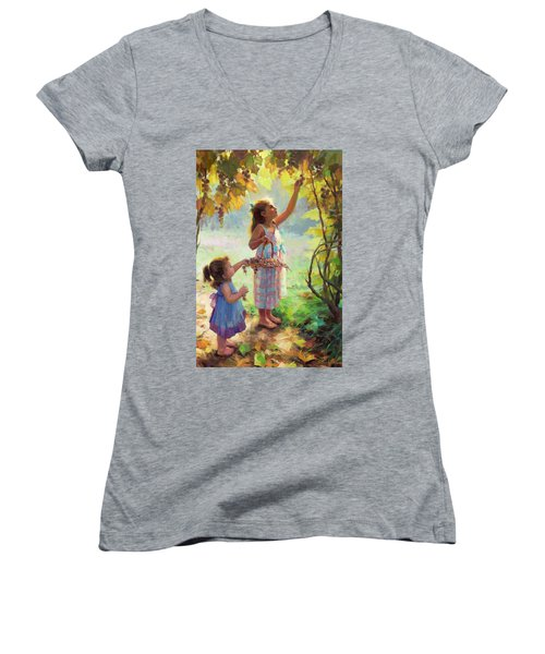 Women's V-Neck featuring the painting The Harvesters by Steve Henderson